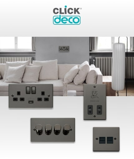 Click Deco Wiring accessories including sockets and switches