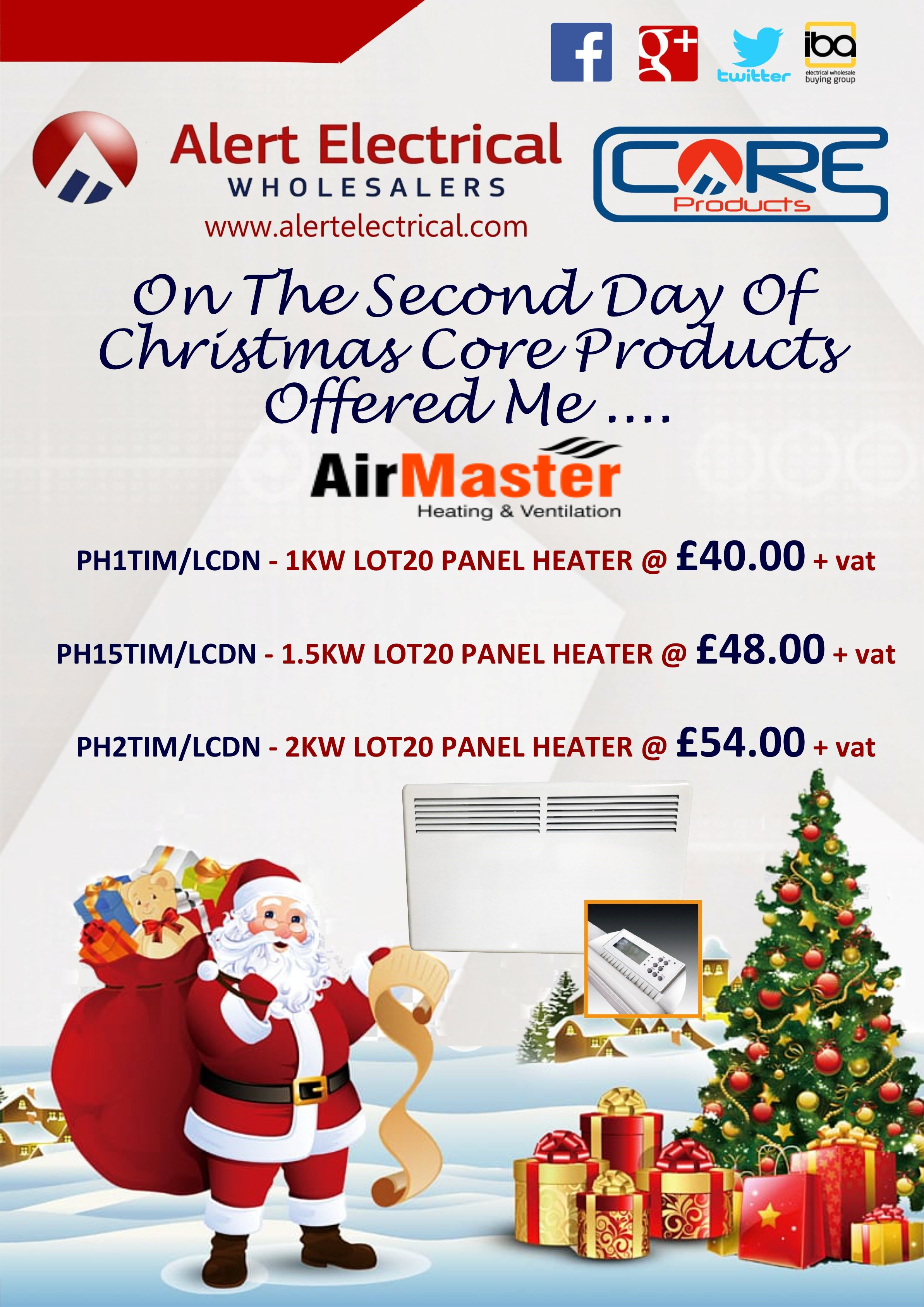 Alert Electrical Wholesalers 12 Days of Christmas. Day 2 AirMaster Panel Heaters