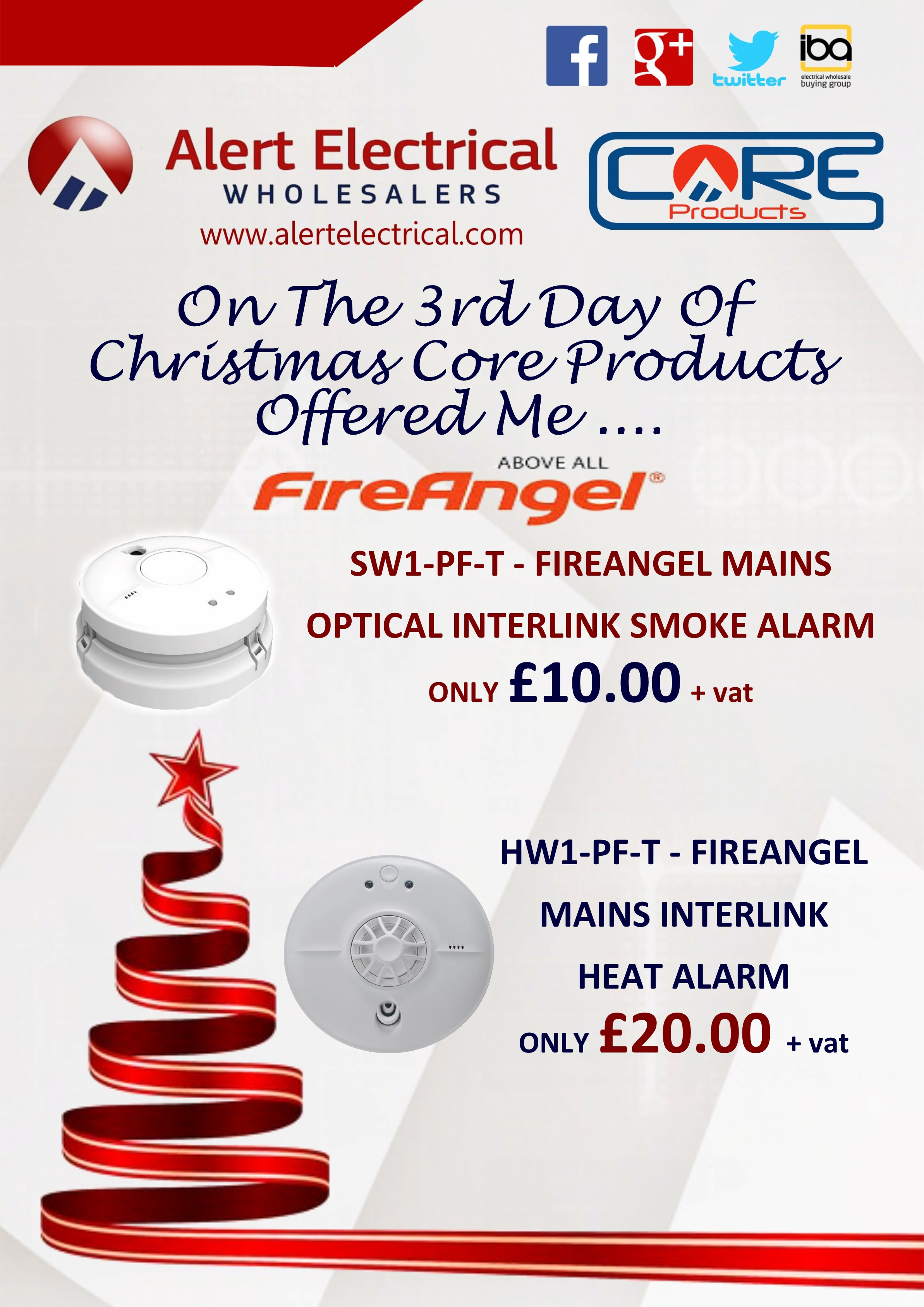 Alert Electrical Wholesalers 12 Days of Christmas. Day 3 FireAngel Mains Smoke & Heat Alarms