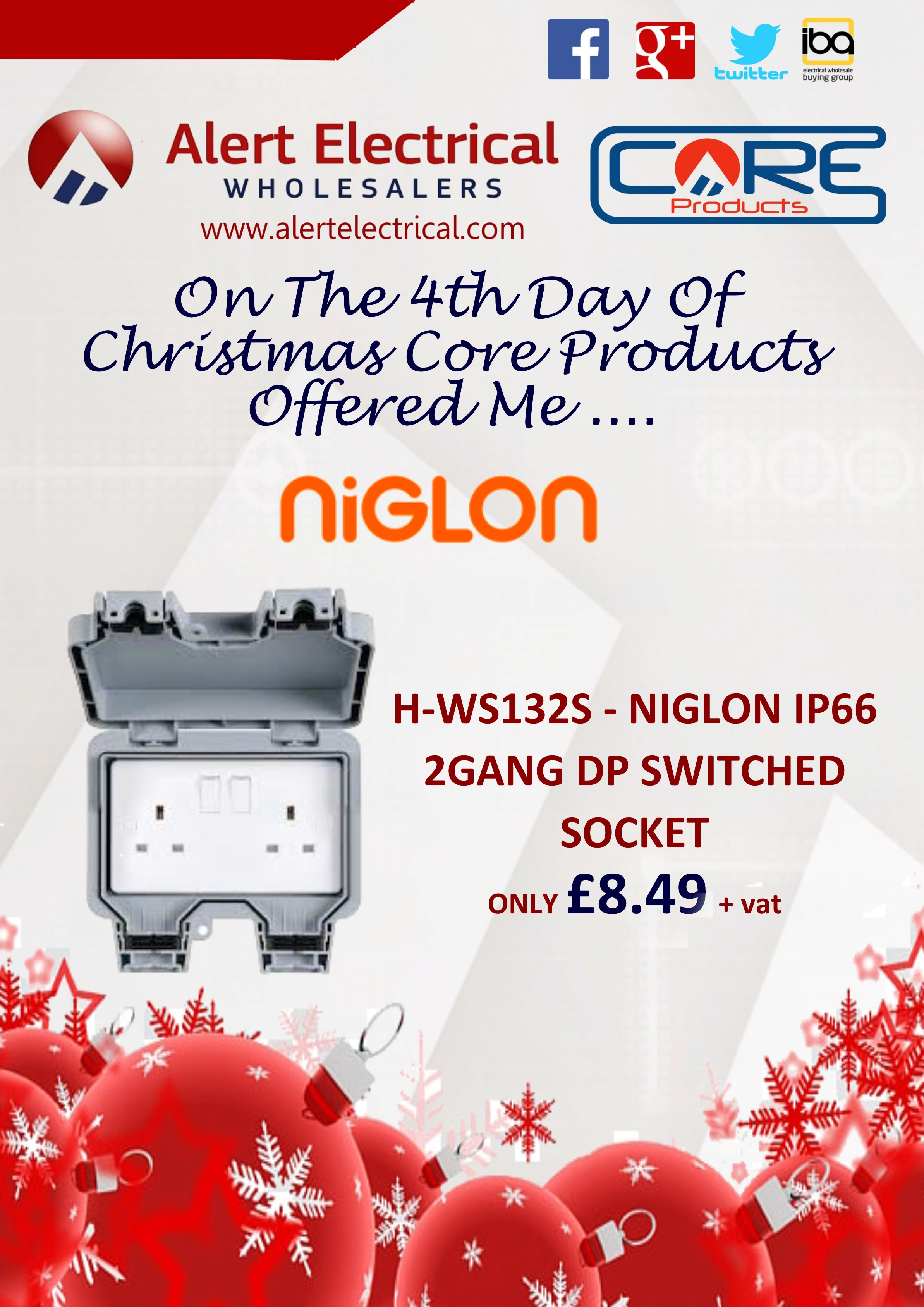 Alert Electrical Wholesalers 12 Days of Christmas. Day 4 Niglon IP66 2 Gang Outdoor Switched Sockets