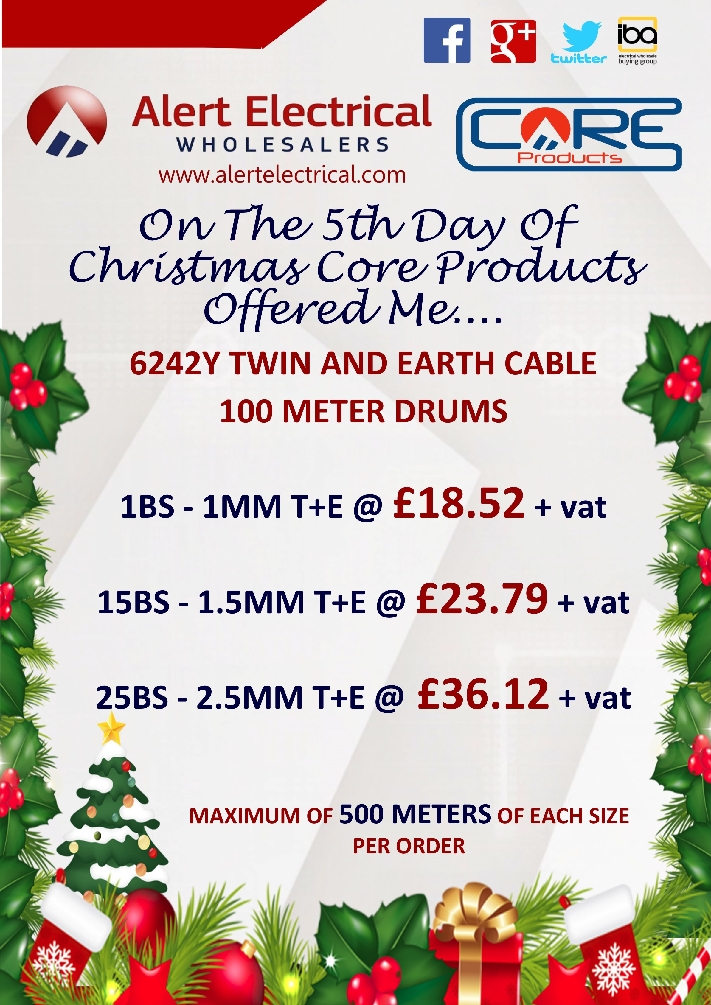 Alert Electrical Wholesalers 12 Days of Christmas. Day 5 Twin & Earth 100m Cable Drums