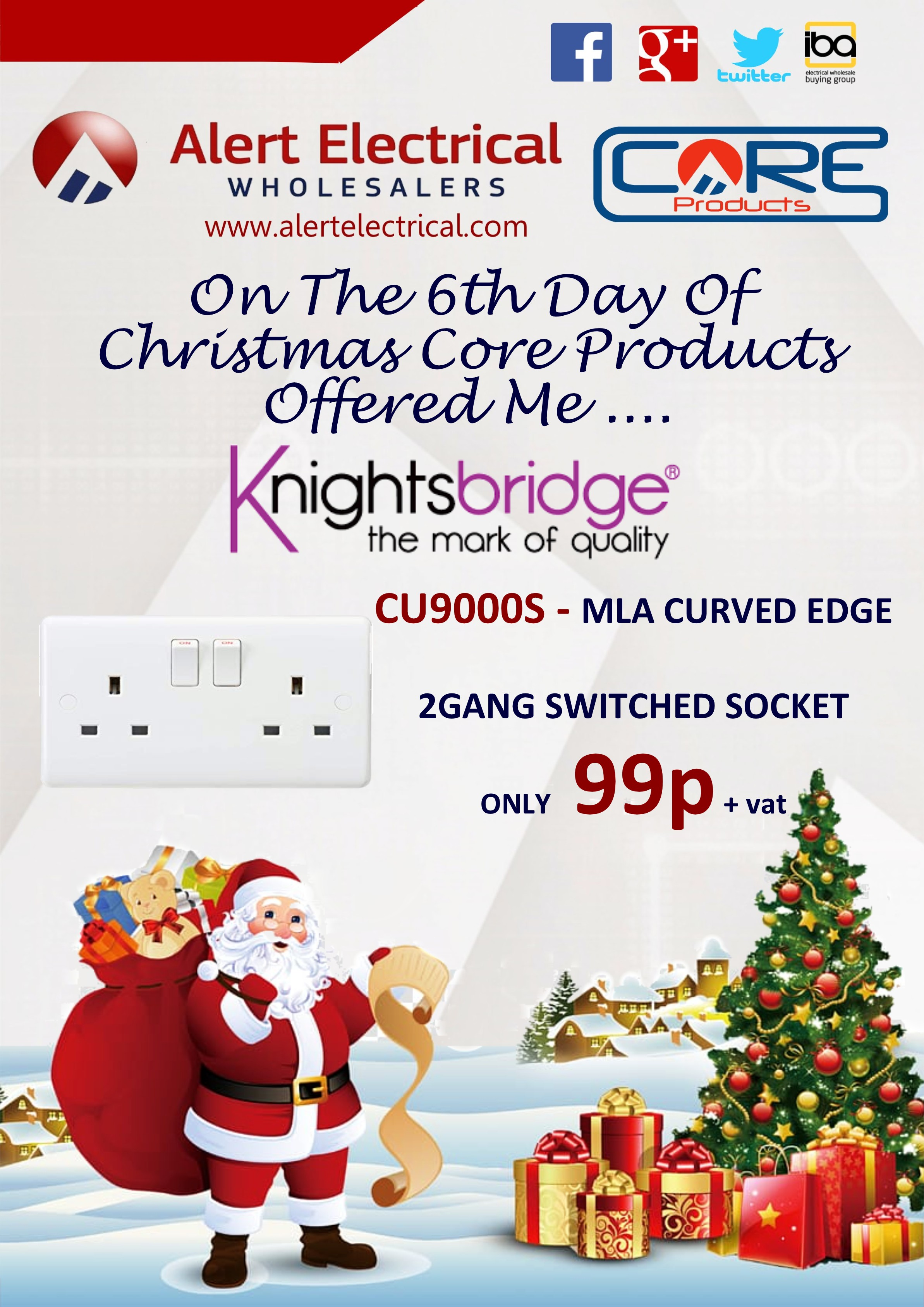 Alert Electrical Wholesalers 12 Days of Christmas. Day 6 MLA Curved Edge 2 Gang Switched Sockets