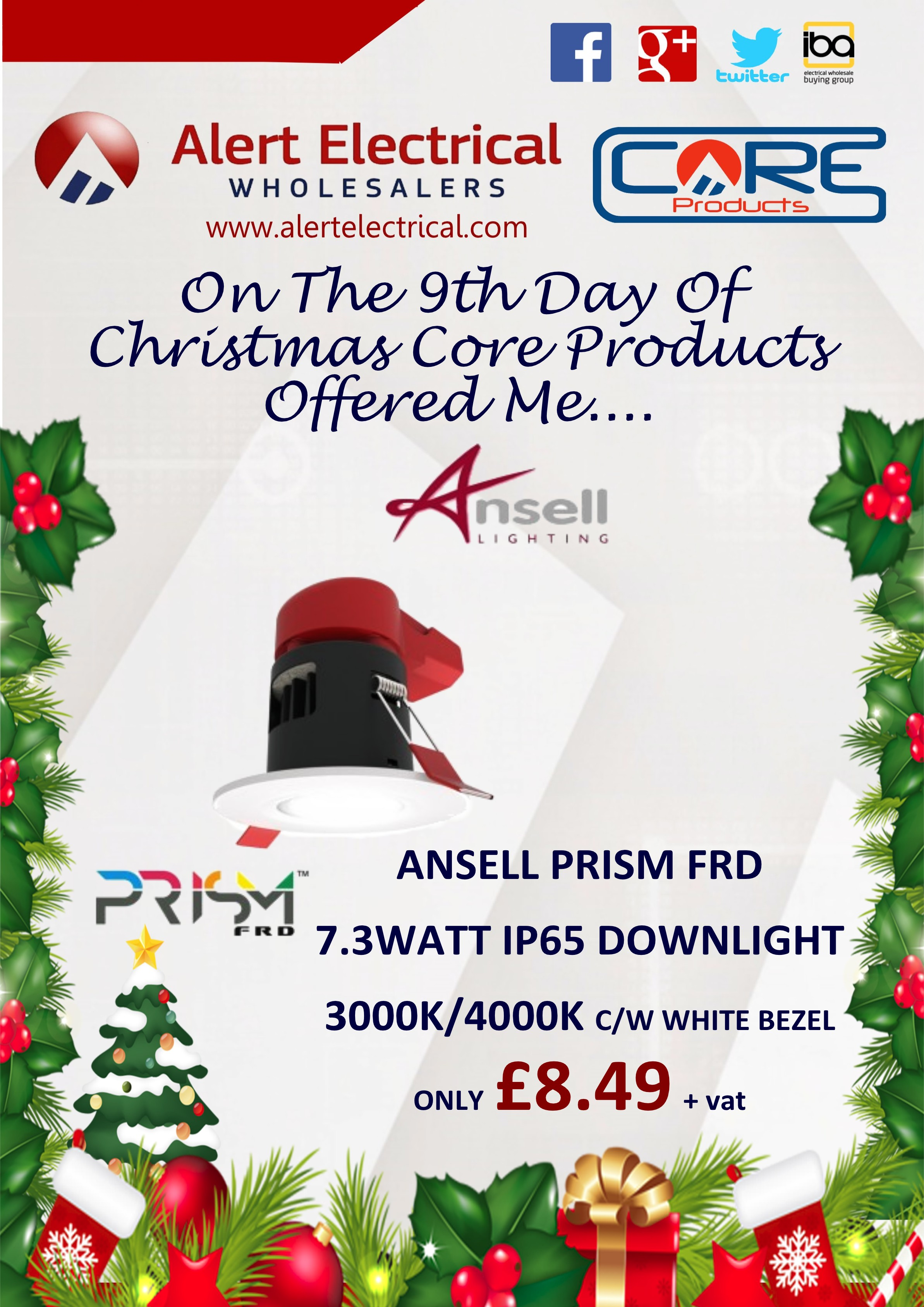 Alert Electrical Wholesalers 12 Days of Christmas. Day 9 Ansell Prism FRD IP65 LED Downlights