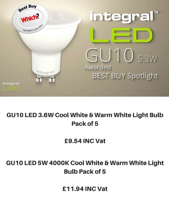 Buy 5 GU10 LEDs For Just £9.54 Inc VAT
