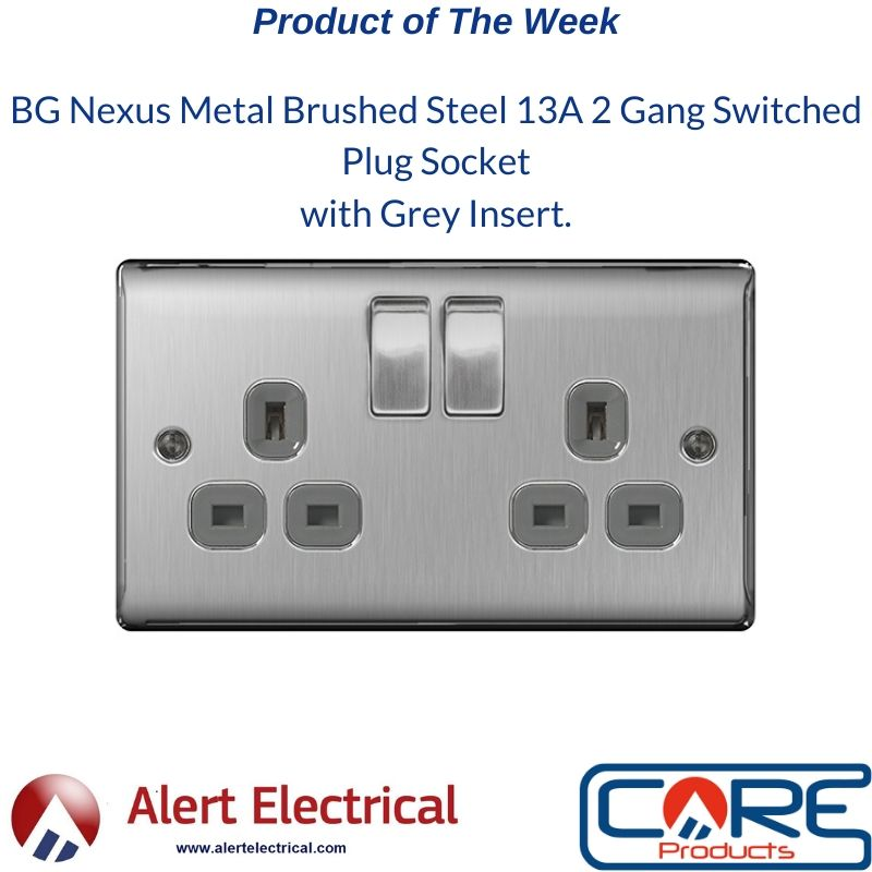 Product of the Week. BG Nexus Metal Brushed Steel 13A 2 Gang Switched Plug Socket with Grey Insert.