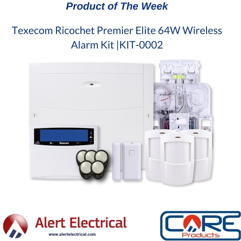 2019 Best Selling Wireless Alarm is our Product of the Week. Texecom KIT-0002 Ricochet Premier Elite 64W Wireless Alarm System