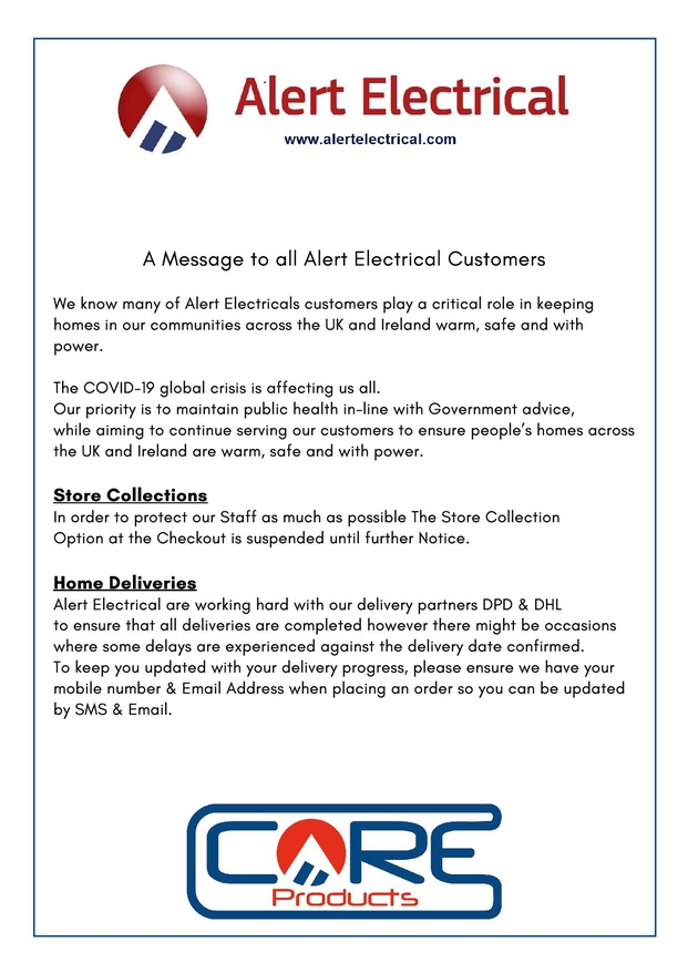 A Message to Alert Electrical Customers COVID-19