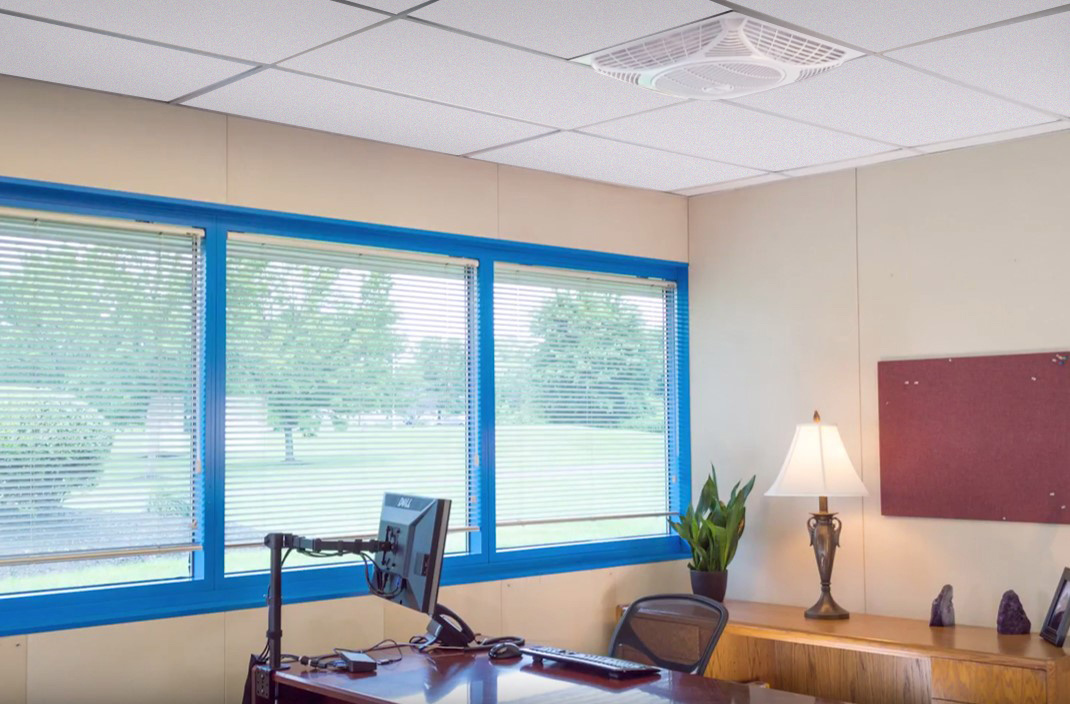 Forget Portable Cooling In offices with the Windsquare indoor recessed ceiling fan!