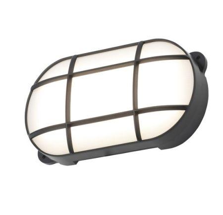 Coast Capella 15w LED Oval Grill Bulkhead IP65 Black   CZ34027-BLK