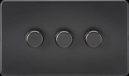 Knightsbridge Screwless 3G 2 Way 5-150W LED Trailing Edge Dimmer Matt Black   SF2183MBB