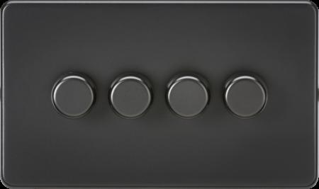 Knightsbridge Screwless 4G 2 Way 5-150W LED Trailing Edge Dimmer Matt Black   SF2184MBB