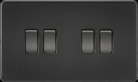 Knightsbridge Screwless 10A 4G 2 Way Light Switch Matt Black   SF4100MBB