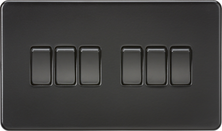 Knightsbridge Screwless 10A 6G 2 Way Light Switch Matt Black   SF4200MBB