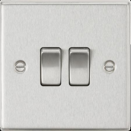Knightsbridge 10AX 2G 2-Way Brushed Chrome Light Switch | CS3BC