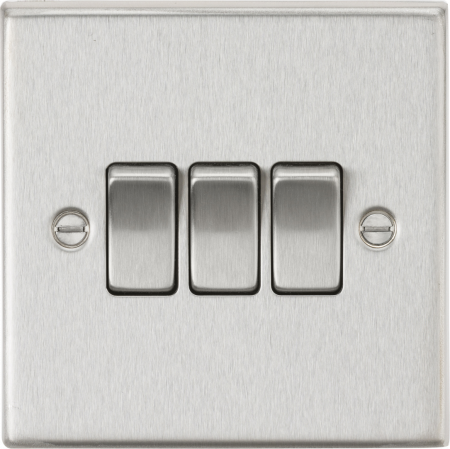 Knightsbridge 10AX 3G 2-Way Brushed Chrome Light Switch | CS4BC