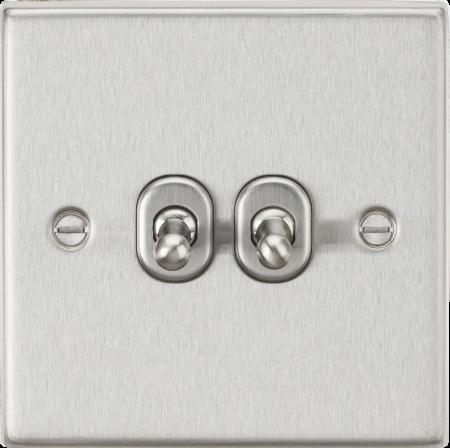 Knightsbridge 10AX 2G 2-Way Brushed Chrome Toggle Light Switch | CSTOG2BC
