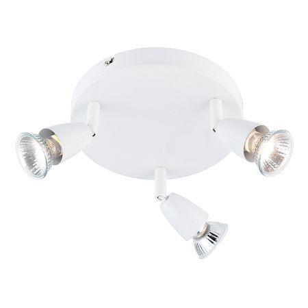 Endon Amalfi 3 Light Round Plate Spotlight Gloss White 43283