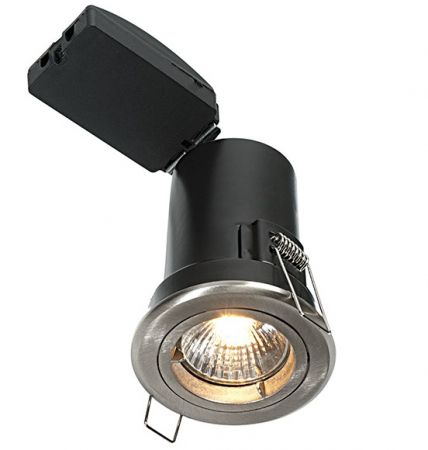Saxby Lighting ShieldPLUS GU10 Fixed IP20 Satin Nickel Downlight | 50673