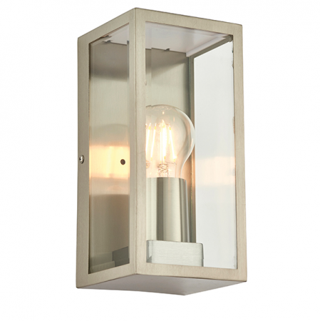 Endon Collection Oxford Box Wall Lantern Brushed Steel | 53803
