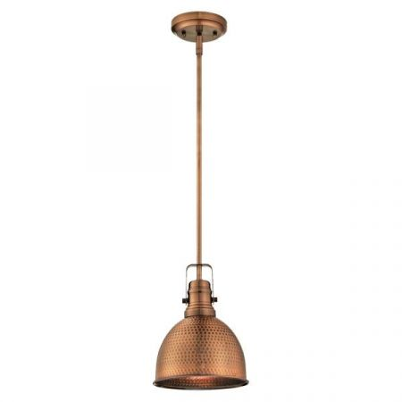 Westinghouse 1 Light Mini Pendant Copper with Hammered Finish 61038