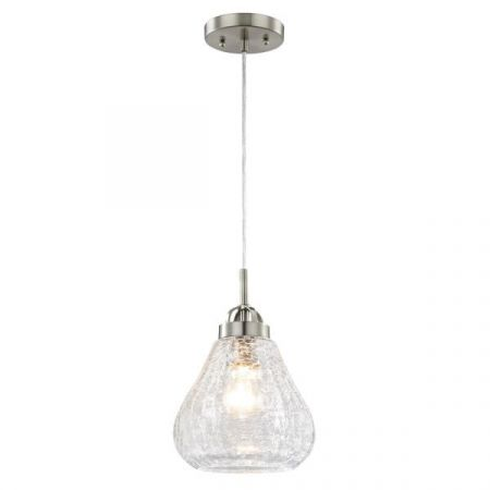 Westinghouse 1 Light Clear Crackle Glass Pendant with Brushed Nickel 63091