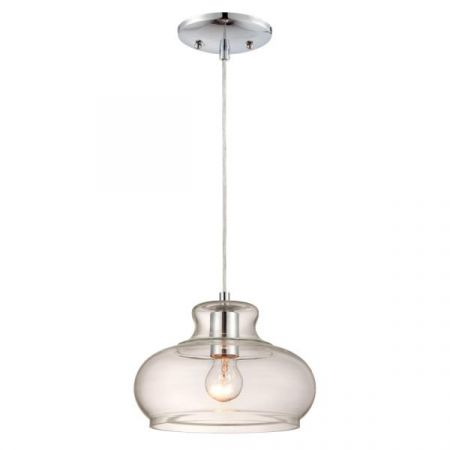 Westinghouse 1 Light Clear Glass Pendant with Chrome 63458
