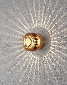 Konstsmide 7900-800 Monza 3w LED Wall Light IP54 Brass Colour Wall shot
