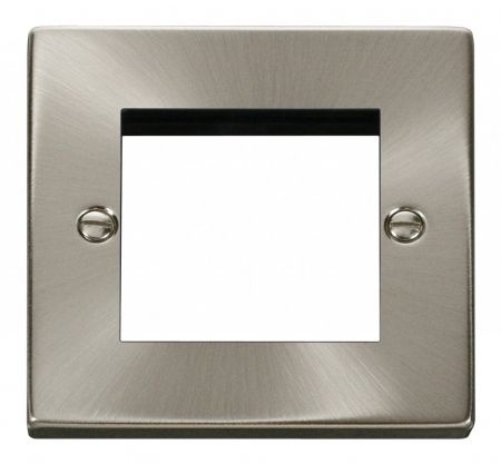 Click Deco Twin Aperture Satin Chrome Unfurnished New Media Plate VPSC311