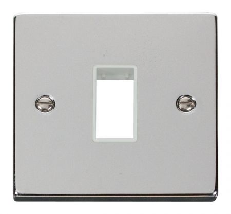 Click Deco Single Aperture Polished Chrome Unfurnished Plate White Insert VPCH401WH