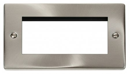 Click Deco Quad Aperture Satin Chrome Unfurnished New Media Plate VPSC312