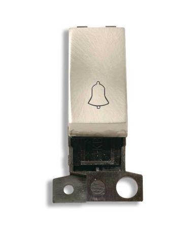 Click MiniGrid 10a 1 way Ingot Brushed Steel Retractive Bell Switch