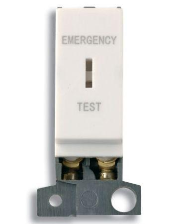"""13A Resistive DP Key Switch Module - Polar White """"Emergency Test"""""""