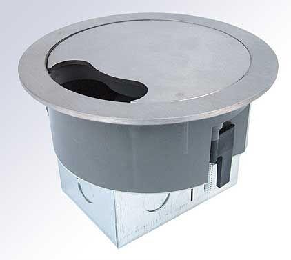 Tass  13a Power Grommet (Round Socket) + 1 Data - Stainless Steel