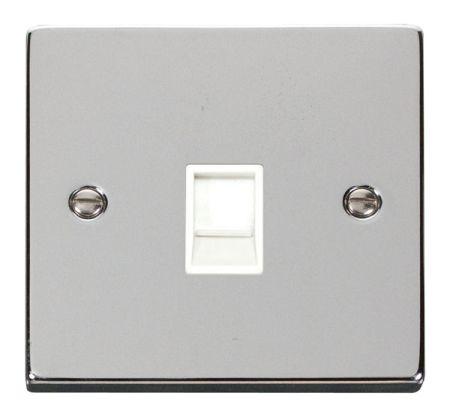 Click Deco Polished Chrome Single Telephone Master Socket White Insert VPCH120WH