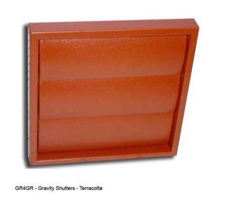 "6"" 150mm Wall Grill - Gravity Shutter - Terracotta"