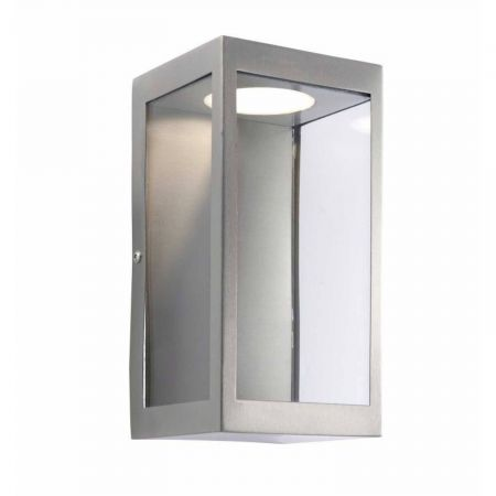Endon Collection Dean 11w integrated LED Box Wall Lantern Brushed Steel | 82014