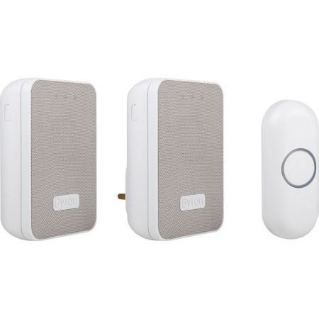 Byron 150m Wireless Doorbell Kit with Portable & Plug In Chimes   DBY-22324UK