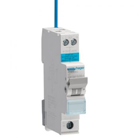 Hager Single Pole Type B Reduced Height RCBO 16A 6kA 30mA | ADA316G