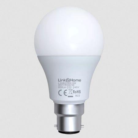 Link2Home 9W B22 Wi-Fi LED lamp with RGB | L2HB229W