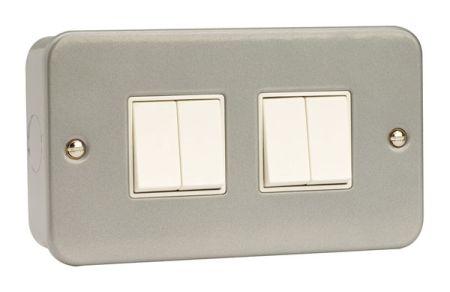 Click Essentials Metal Clad 10a 4 Gang 2 Way Switch | CL019