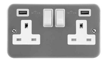Click Essentials Metalclad 2 x USB Double Switched Socket | CL780