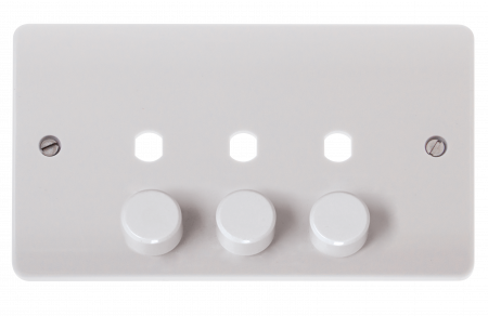 Click Mode 3 Gang Unfurnished Dimmer Plate & Knob (1200W Max) | CMA147PL