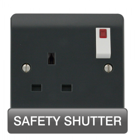 Click Mode Part M 13A 1 Gang DP Safety Shutter Switched Socket & Neon (Twin Earth) | CMA1835AG
