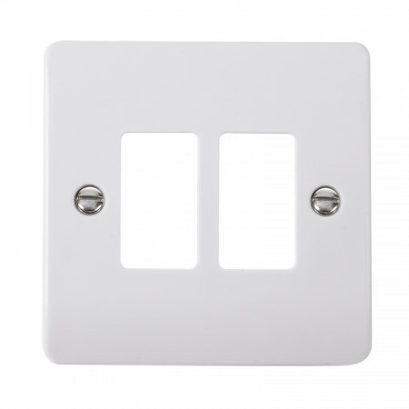 Click GRIDPRO White Plastic Mode 2 Gang Front Plate | CMA20402