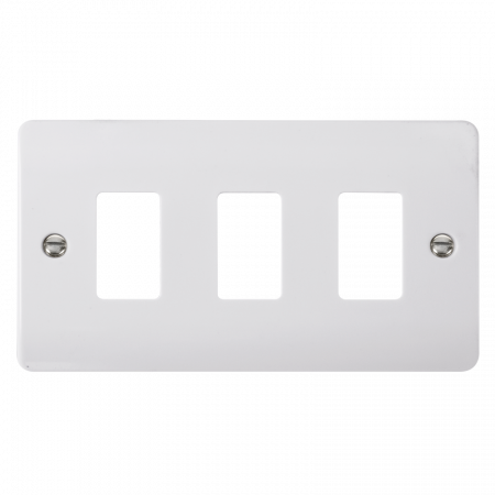 Click GRIDPRO White Plastic Mode 3 Gang Front Plate | CMA20403