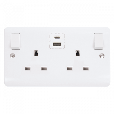 Click Mode 2 Gang 13A Switched Socket & TYPE A & C USB Charging | CMA786