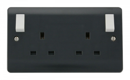 Click Mode Part M 13A 2 Gang DP Switched Socket With Outboard Rockers | CMA836AG