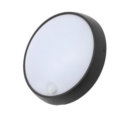 Coast Cano 15w LED Round PIR Bulkhead IP65 Black | CZ34023-BLK