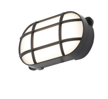 Coast Capella 8w LED Oval Grill Bulkhead IP65 Black   CZ-34026-BLK