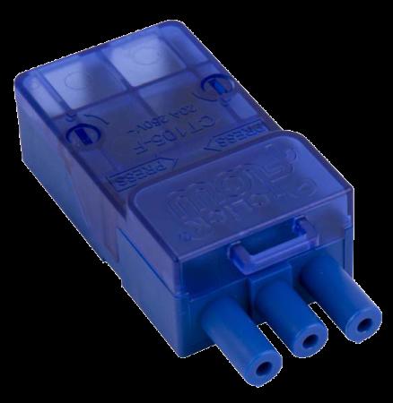 Click Flow 20A 3 Pole Female Push-Fit Connector | CT105F